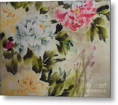 Metal Print featuring the painting Dream  Flower 0727-4 by Dongling Sun