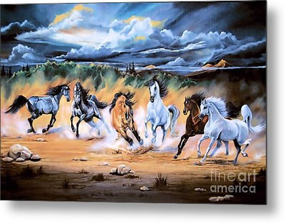 Dream Horse Series 125 - Flat Bottom River Wild Horse Herd Metal Print
