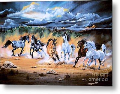Dream Horse Series 125 - Flat Bottom River Wild Horse Herd Metal Print by Cheryl Poland