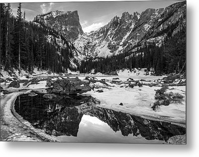 Dream Lake Reflection Black And White Metal Print by Aaron Spong