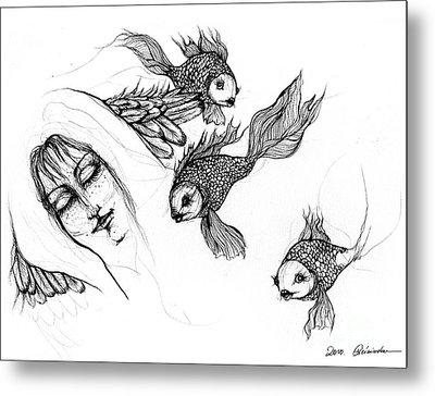 Dream Of Goldfish Metal Print by Angel  Tarantella
