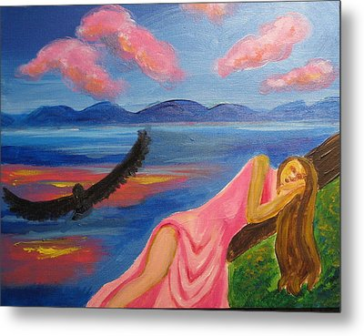 Metal Print featuring the painting Dreaming At Eagle Lake by Diana Riukas