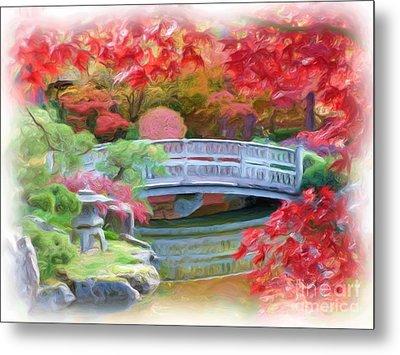 Dreaming Of Fall Bridge In Manito Park Metal Print by Carol Groenen