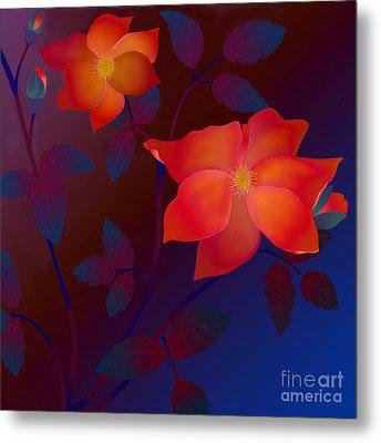 Metal Print featuring the digital art Dreaming Wild Roses by Latha Gokuldas Panicker