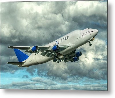 Metal Print featuring the photograph Dreamlifter Takeoff by Jeff Cook