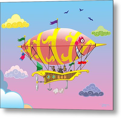 Rainbow Steampunk Dreamship Metal Print by J L Meadows