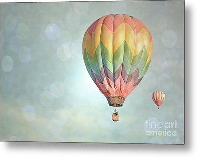 Dreamy Balloon Pair Sky Metal Print by Andrea Hazel Ihlefeld