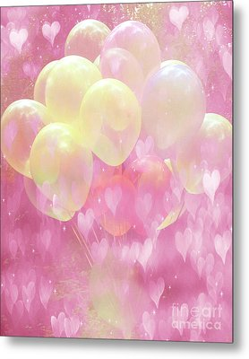 Dreamy Fantasy Whimsical Yellow Pink Balloons With Hearts  Metal Print
