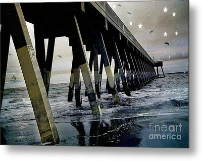 Dreamy Haunting Ocean Coastal Pier With Stars And Birds Metal Print by Kathy Fornal