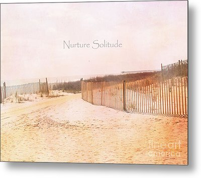 Dreamy Pale Cottage Summer Beach Typography  Metal Print by Kathy Fornal