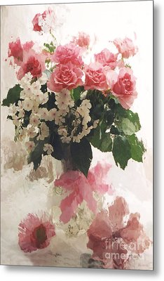 impressionistic Watercolor Roses in Vintage Antique Vase - Pink and White Vintage Roses Metal Print by Kathy Fornal