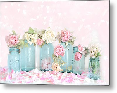 Dreamy Shabby Chic Pink White Roses  - Vintage Aqua Teal Ball Jars Romantic Floral Roses  Metal Print by Kathy Fornal