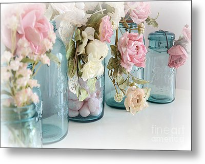 Shabby Chic Roses Blue Aqua Ball Mason Jars - Roses In Aqua Blue Mason Jars - Shabby Chic Decor Metal Print