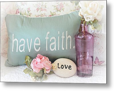 Dreamy Shabby Chic Cottage Inspirational Faith And Love Print - Pink Teal Aqua Purple Romantic Photo Metal Print