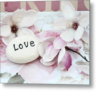 Dreamy Shabby Chic Pink White Magnolia Blossoms - Romantic Pink Magnolias With Love Metal Print by Kathy Fornal