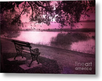 Dreamy Surreal Beaufort South Carolina Lake And Bench Scene Metal Print by Kathy Fornal