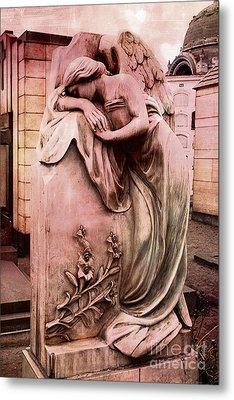 Dreamy Surreal Beautiful Angel Art Photograph - Angel Mourning Weeping At Gravestone  Metal Print by Kathy Fornal
