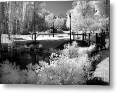 Dreamy Surreal Black White Infrared Landscape Metal Print by Kathy Fornal