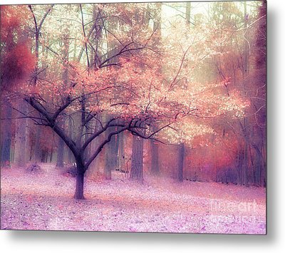 Dreamy Surreal Fall Autumn Ethereal Trees Nature Landscape South Carolina Nature Landscape Metal Print by Kathy Fornal