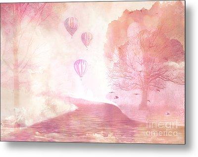 Dreamy Surreal Fantasy Fairytale Pastel Hot Air Balloons Dreamland Nature Fantasy Art Metal Print by Kathy Fornal