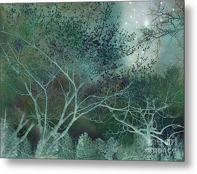 Dreamy Surreal Fantasy Teal Aqua Trees Nature  Metal Print by Kathy Fornal