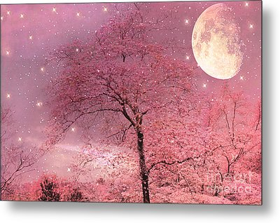 Dreamy Surreal Pink Fantasy Fairytale Trees Moon And Stars Metal Print by Kathy Fornal