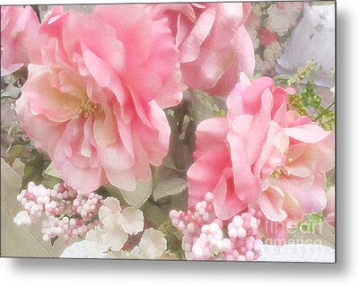 Dreamy Vintage Cottage Shabby Chic Pink Roses - Romantic Roses Metal Print by Kathy Fornal