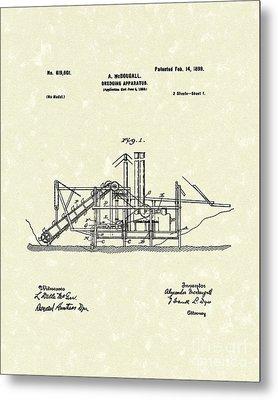 Dredging Apparatus 1899 Patent Art Metal Print by Prior Art Design