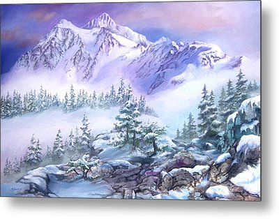Metal Print featuring the painting Dressed In White Mount Shuksan by Sherry Shipley