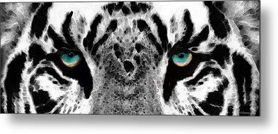 Dressed To Kill - White Tiger Art By Sharon Cummings Metal Print