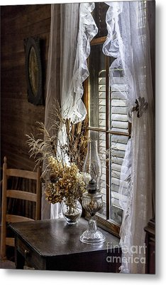 Dried Flowers And Oil Lamp Still Life Metal Print by Lynn Palmer