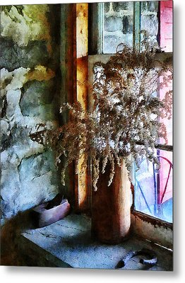 Dried Flowers On Windowsill Metal Print by Susan Savad