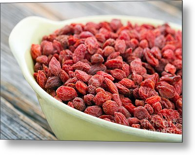 Dried Goji Berries In A Yellow Bowl Metal Print by Anna-Mari West