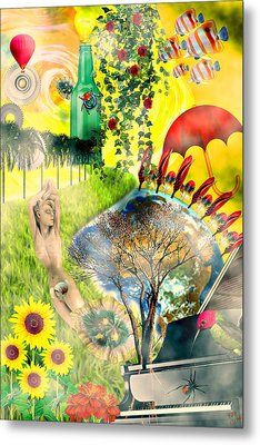 Metal Print featuring the mixed media Drifting Away by Ally  White