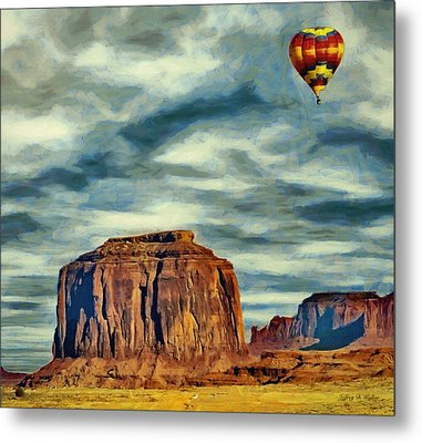 Metal Print featuring the painting Drifting Over Monument Valley by Jeff Kolker