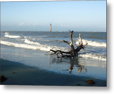 Metal Print featuring the photograph Driftwood And Morris Island Lighthouse by Ellen Tully
