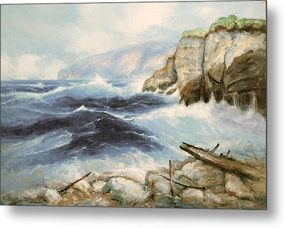Driftwood Cliffs Metal Print