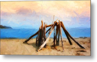 Driftwood Sculpture At Rincon Metal Print