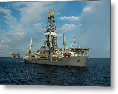 Drill Ship And Platform Metal Print
