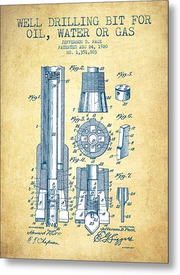 Drilling Bit For Oil Water Gas Patent From 1920 - Vintage Paper Metal Print