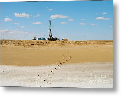 Drilling In The Desert. Metal Print by Alexandr  Malyshev