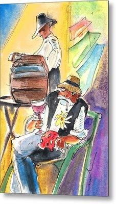 Drinking Wine In Lanzarote Metal Print by Miki De Goodaboom