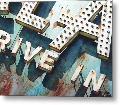 Drive In Metal Print by Greg and Linda Halom