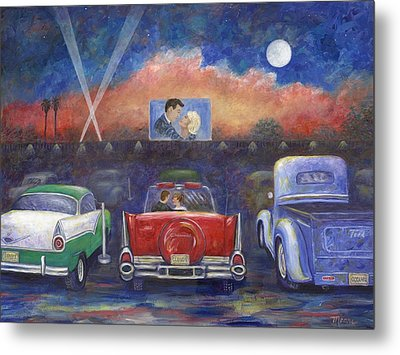 Drive-in Movie Theater Metal Print by Linda Mears