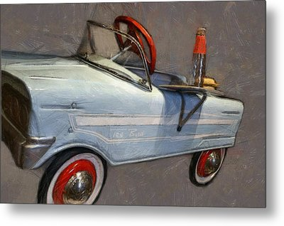 Drive In Pedal Car Metal Print by Michelle Calkins