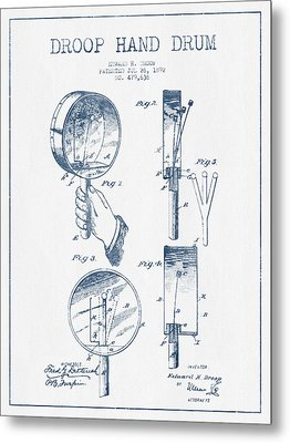 Droop Hand  Drum Patent Drawing From 1892 - Blue Ink Metal Print