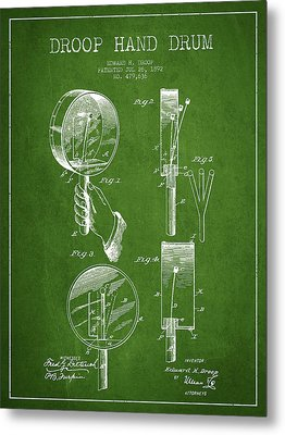 Droop Hand  Drum Patent Drawing From 1892 - Green Metal Print by Aged Pixel