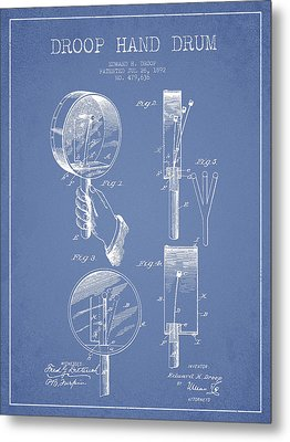 Droop Hand  Drum Patent Drawing From 1892 - Light Blue Metal Print by Aged Pixel