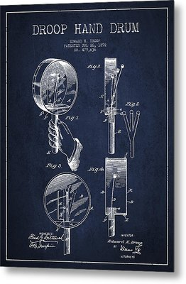 Droop Hand  Drum Patent Drawing From 1892 - Navy Blue Metal Print by Aged Pixel