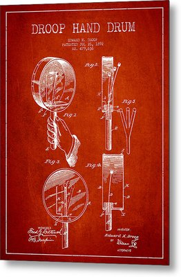 Droop Hand  Drum Patent Drawing From 1892 - Red Metal Print by Aged Pixel